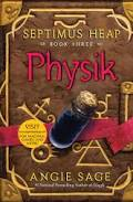 The cover of a brown book with symbols titled Physik.