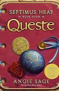 A red book with hand stitched binding titled Queste. There are stones and a blue ribbon closure.