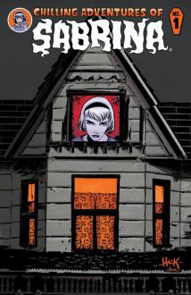 A grey house with an orange glow emitting. The top window has a girl early peering out.