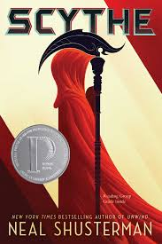 A figure in a hooded red cape holds a scythe looking like a futuristic grim reaper.