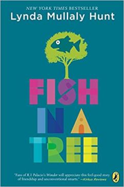 "A blue-green cover with the title, ""Fish In A Tree"" written in colorful block letters is under a tree with a cartoon fish in it."