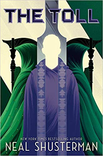 Two green cloaked scythes stand on either side of a person wearing a purple robe.