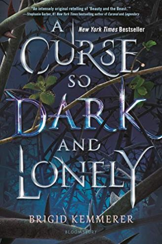 """""""A Curse so Dark and Lonely"""" Words are woven through with thorns on a blue background."""