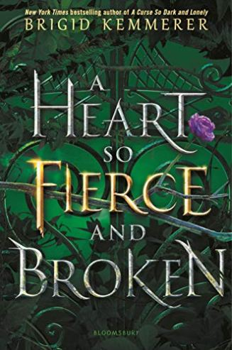 """A Heart so Fierce and Broken"" words are woven with vines on a green background."