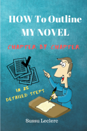 """""""My Novel, Chapter by Chapter,"""" A cartoon man sits at a desk writing."""