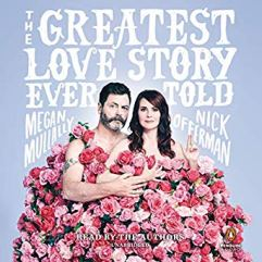 """The Greatest Love Story Ever Told"" Nick Offerman and Megan Mullally sit together surrounded by pink roses."
