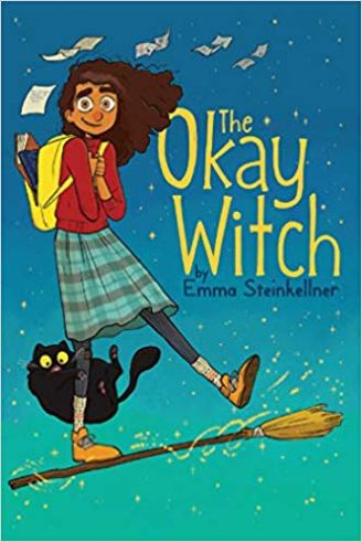 A young teenage girl with huge eyes and flowing hair is standing suspended on a flying broom with a black cat clinging to her leg.