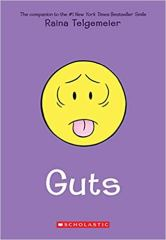 A bright purple cover with a yellow nauseated emoji.