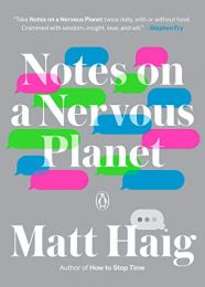 "A grey book cover with blue green and pink text messaging boxes and the title ""Notes on a Nervous Planet."""