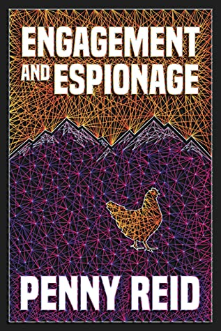 """The book cover has a yellow and purple string art showing a chicken with purple mountains behind it and features the title """"Engagement and Espionage"""""""